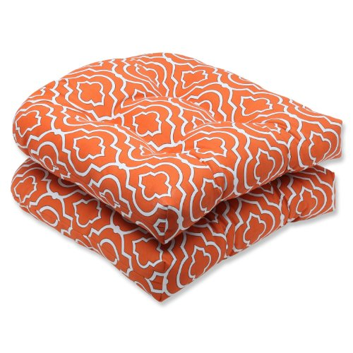 Pillow Perfect Outdoor Starlet Mandarin Wicker Seat Cushion, Set of 2 picture