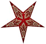 Super India Store Paper Star Lantern Handcrafted Paper Lamps Decorative Light Designs RIGEL - Red - 60 cm Size