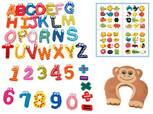 楽しく 学ぼう 知育 玩具 セット 木製 で マグネット 英語 アルファベット の 教育 にも 収納袋 と ドア ストッパー 付き (アルファベット+数字+生物)