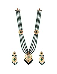 TKD Jewellers Green Color Traditional Wear Gold Plated Multi Nizami Chain Strand For Women (TKDJ033)