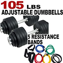 One Pair of Adjustable Dumbbells Kits - 105 Lbs (52.5lbs X 2pc) + Free 5 Resistance Bands