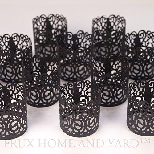 frux casa e giardino senza fiamma tea light Votive wraps- 48Laser taglio decorativo per candele per LED ricaricabile 04Black