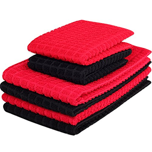 Kleanner 6 Packs Microfiber Kitchen Dish Cloth and Towel Set, Two Dish Cloth With Mesh Scour Side 12 x 12 Inch, Four Dish Towels 16 x 19 Inch, Absorbent and Fast Dry (Red and Black Color) (Red And Black Dishes compare prices)