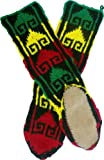 Mukluk Slippers with Leather Sole in Rasta Colors, Red