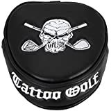 Tattoo Golf Lucky 13 Putter Cover - Two Ball Mallet Style - Green Skull Black/White One Size