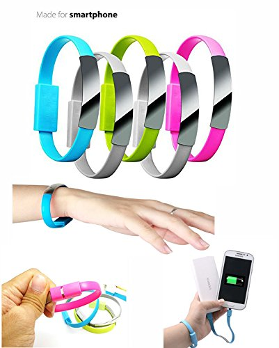 2015 Newest Colorful Micro USB 2.0 Data Sync Charger Wrist Bracelet Shape, Specialley design for Power bank charger. Size 0.7Ft Feet 8.5 Inch For Samsung Galaxy Note 2, Galexy S4, Galaxy S3, Galaxy S2, Galaxy Nexus, HTC One X, One S, Sensation G14, ThunderBolt, Nokia N9 Lumia 920 900, Blackberry Z10, Sony Xperia Z; and More - Colour - Green