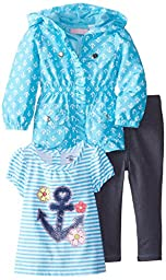Kids Headquarters Baby Girls\' Jacket with Tee and Jeans, Blue, 18 Months