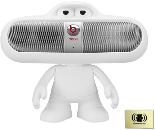 Beats By Dr. Dre Pill 2.0 Wireless Portable Speaker System (Silver) Bundle With White Beats Pill Character Stand And Zorro Sounds Polishing Cloth