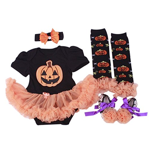 BabyPreg® Infant Girls' Halloween Dress Pumpkin 4PCS Headband Legging Shoe