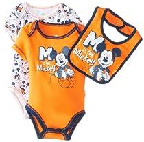 Disney Baby-Boys Newborn Mickey 2 Pack Creeper Bib Layette- Orange, 0-3 Months
