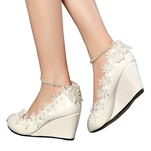 Getmorebeauty Women's Wedge Flowers Pearls Mary Janes Wedding Bridal Shoes 9 B(M) US