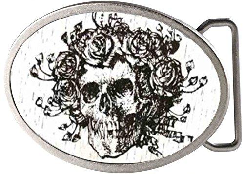 Grateful Dead Psychedelic Rock Band Rose Covered Skull Rockstar Belt Buckle