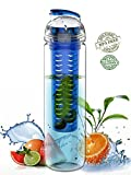 SH&H 27oz Tritan Fruit Infuser Water Bottle, Multi Color (Light Blue)