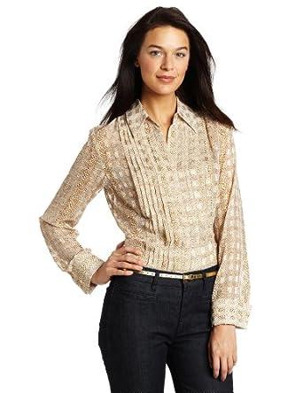 Jones New York Women's Pleated Peplum Long Sleeve Shirt, Frosted Gold, Small