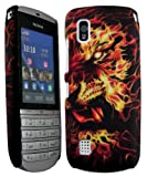 Cellmax Nokia Asha 300 Hard Shell Back Protection Matt Case With Tiger Burning Skull Pattern Cover Skin Clip On Protection