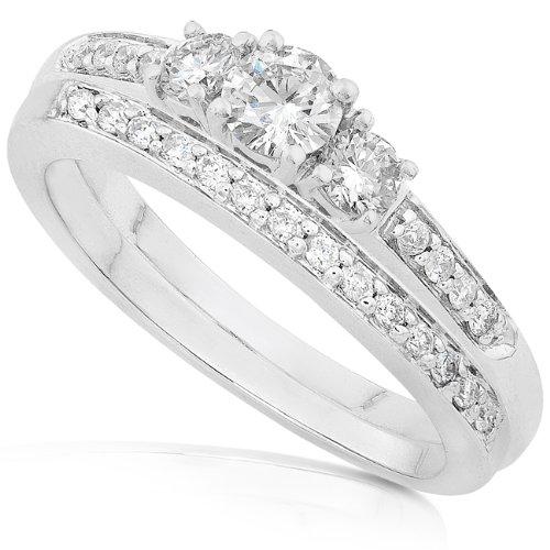 2/5ctw Three Stone Round Diamond Wedding Ring Set in 14Kt White Gold (GH/I1-I2)