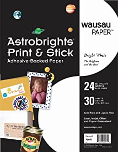 Wausau Astrobrights Print and Stick Adhesive Backed Heavy Duty Paper, 30 Sheets, Matte Finish (70971)