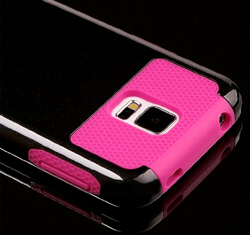 Mylife (Tm) Brushed Black And Hot Pink - Free Flex Series (2 Layer Neo Hybrid) Slim Armor Case For The New Galaxy S5 (5G) Smartphone By Samsung (External Rubberized Hard Shell Flex Piece + Internal Soft Silicone Flexible Bumper Gel + Lifetime Warranty + S