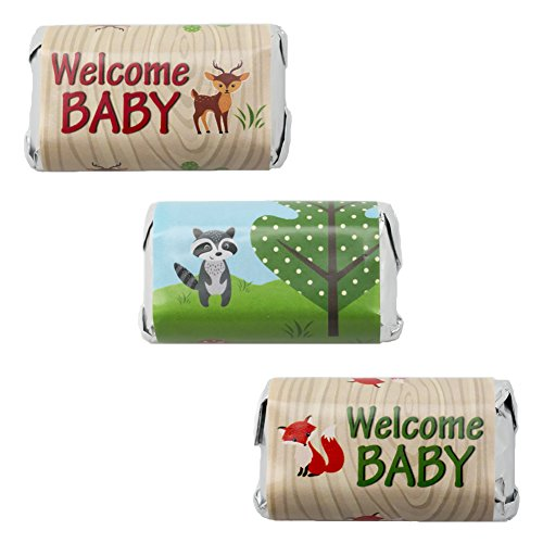 Woodland Animals Baby Shower Favor Stickers for Hershey's Miniatures Candy Bars (Set of 54) (Animal Shower Decorations compare prices)