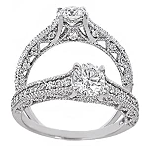 14k White Gold Round Cut Diamond Engagement Ring Vintage Style (1 Carat, SI-2 Clarity, F Color) from ATR Jewelry