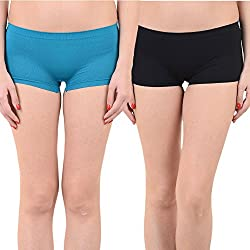 Mynte Women's Sports Shorts (MEWIWCMBP-SHR-104-100, Blue, Black, Free Size, Pack of 2)