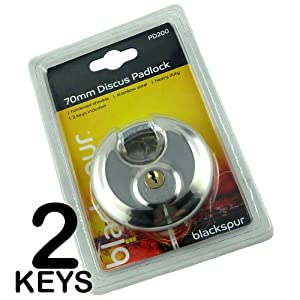 70MM DISCUS DISC ROUND SECURITY PADLOCK WITH 2 KEYS - HEAVY DUTY - HARDENED SHACKLE - STAINLESS STEEL - WATERPROOF - IDEAL FOR HOME, OFFICE, WAREHOUSES, MOTORBIKE, GATES, GARDEN SHED (PACK 1)