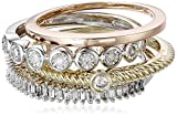White Diamond Three Tone Stackable Ring (1/3cttw, I-J Color, I2-I3 Clarity)