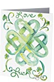 Blank Note Cards: 6 Blank Artistic Watercolor Notecards, with Envelopes - Love & Luck Celtic Heart Knot