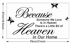 Tarmader Because Someone We Love is in Heaven There's a Little Bit of Heaven in Our Home Vinyl Wall Lettering Sticker Sayings Home Art Decal