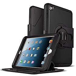 iPad Mini 4 Case, CASEFORMERS iPad Mini 4 Tough Full Body Armor Stand Overlay Case BLACK [Detachable Stand] and [Built-in Screen Protector] for iPad Mini 4
