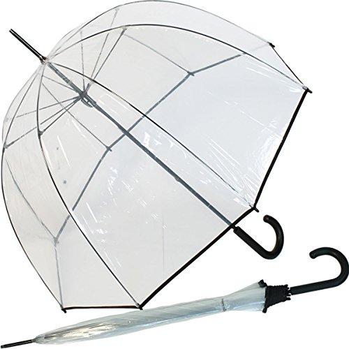 Hochwertiger durchsichtiger Glockenschirm - transparent mit schwarzem Einfassband -