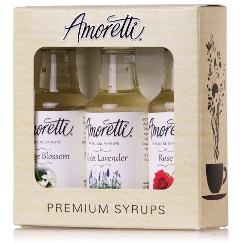Amoretti Premium Floral Syrups 50ml 3 Pack (Rose, Violet Lavender, Orange Blossom)