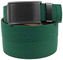 SlideBelts Men's Canvas Belt without Holes - Gunmetal Buckle / Green Canvas (Trim-to-fit: Up to 48