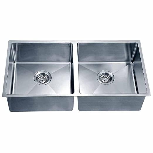 Dawn SRU331616 Undermount Small Corner Radius Equal Double Bowl Sink, Polished Satin