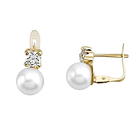 18k gold pearl earrings 6.5mm. zirconia button [AA5310]