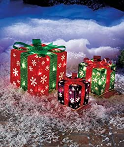 Set of 3 lighted gift boxes snowflakes red for Amazon christmas lawn decorations
