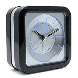 JCC Loud Melody Alarm Square Non Ticking Silent Quartz Analog Travel Bedside Desk Alarm Clock with Snooze and Night Light Function, Battery Operated, Simple to Use (Black-silver)