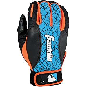 Buy Franklin Sports MLB 2nd-Skinz Batting Gloves Pair, Blue Orange Black - Youth Large by Franklin