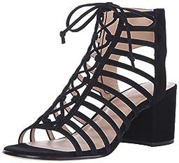 Pour La Victoire Women\'s Amabelle Dress Sandal, Black Suede, 6 M US