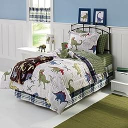 Dinosaurs Full Comforter, Shams, Sheet Set & Linens Beyond Exclusive Flash Light (7 Pc Bedding Bundle)