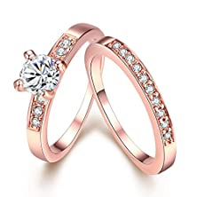 buy [Eternity Love] Women'S Pretty 18K Rose Gold Plated Solitaire Cz Crystal Engagement Rings Set Best Promise Rings For Her Anniversary Wedding Bands Tivani Collection Jewelry Rings