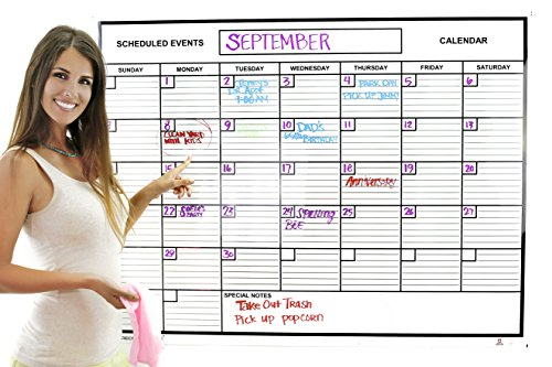Whiteboard Dry Erase Jumbo Monthly Calendar Planner - Best for Goals Current Events Things to Do from Acme Record A Date Offer Easy to Install Design to Stick or Tack for Home School Business Schedule (Sales Board compare prices)