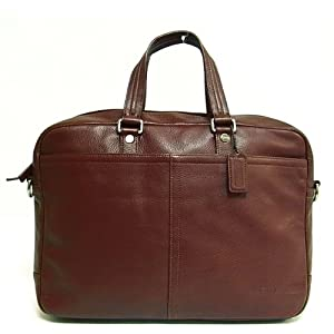 Coach Pebbled Leather Laptop Messenger Bag Tote Cognac