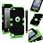E LV Two Tone Hard and Soft Hybrid Armor Sports Combo Case for Apple iPod Touch 5 5th Generation with 1 Screen Protector