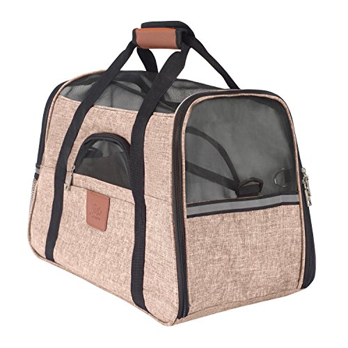 Lux By Frontpet Airline Approved Pet Carrier With Faux Leather Accents and Memory Foam Fleece Insert (Brown)