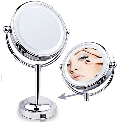 LED Lighted Vanity Makeup Mirror Two Sided Magnifying Stand Table Top Swivel New eBay