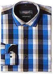 Dennison Men's Formal Shirt (SS-16-404_40_Blue)