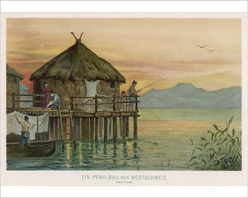 Photographic Print Of Swiss Lake Dwelling