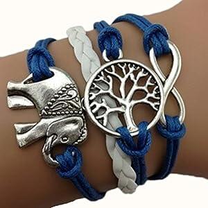Armband Unendlichkeit Baum des Lebens und Elefant Silber Blau Weiß Infinity love Lederband One Direction