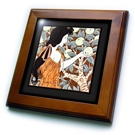 ft_163569_1 Florene Art Deco and Nouveau - Image of nouveau lady picking apples - Framed Tiles - 8x8 Framed Tile